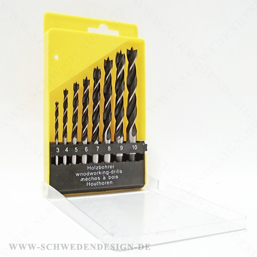  3, 4, 5, 6, 7, 8, 9, 10 mm Holzbohrer Set 8 tlg CV Stahl Holzbohrer Set 8 tlg: Ø 3 mm, Ø 4 mm, Ø 5 mm, Ø 6 mm, Ø 7 mm, Ø 8 mm,Ø 9 mm, Ø 10 mm